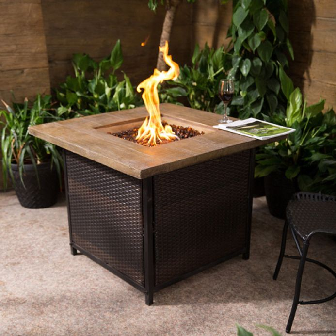 Royal Fire Rattan & Fibreglass Square Gas Firepit in Mixed Brown & Natural Stone